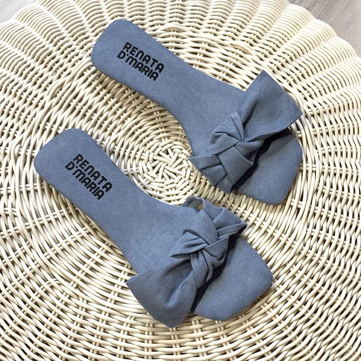 R540 Rasteira Ponteira Quadrada Laço Suede Azul Denim