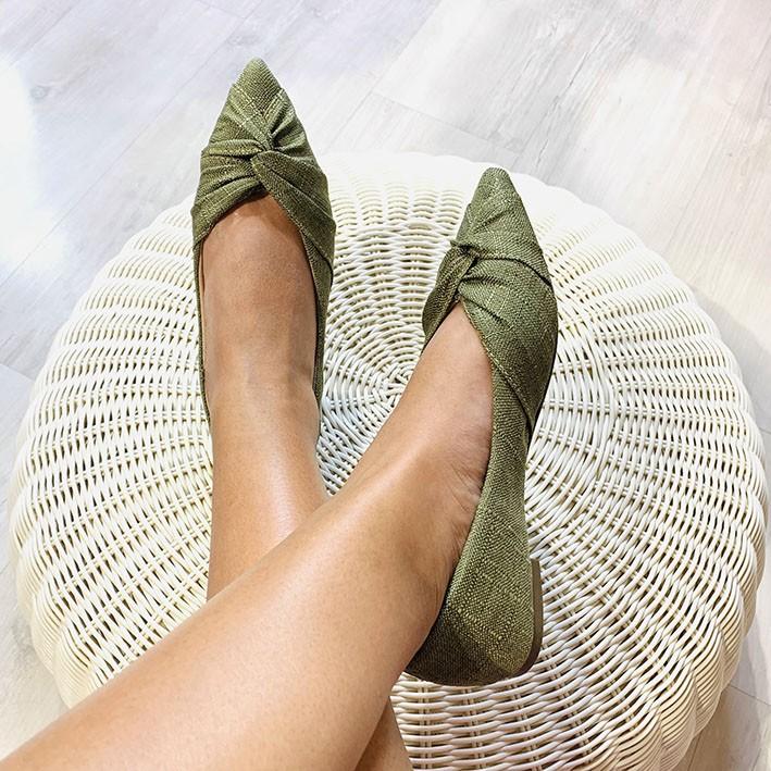 S122 Sapatilha Bico Fino Linho Verde