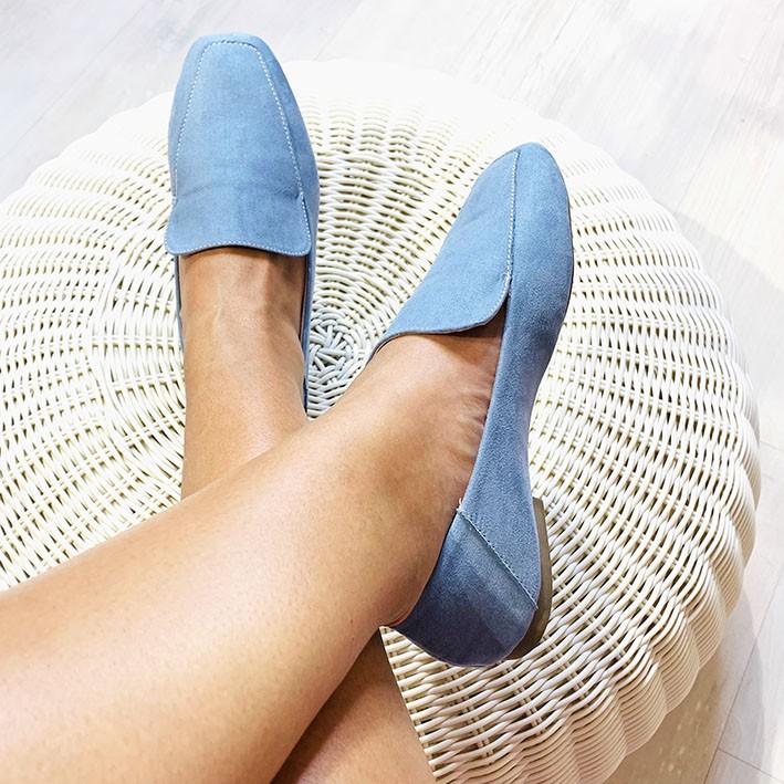 S140 Sapatilha Loafer Suede Azul Denim