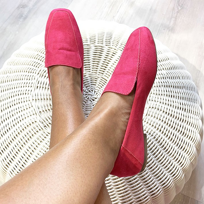 S141 Sapatilha Loafer Suede Rosa Pink