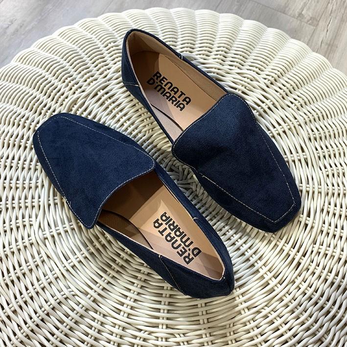 S145 Sapatilha Loafer Suede Azul Marinho