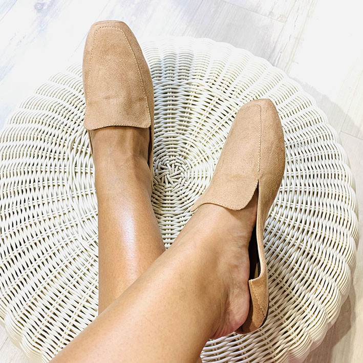S146 Sapatilha Loafer Suede Nude