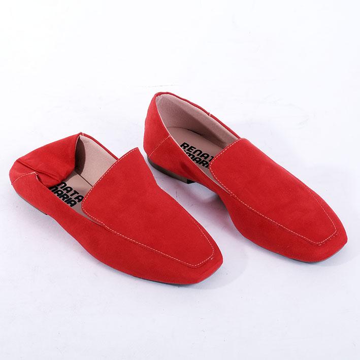 S147 Sapatilha Loafer Suede Vermelha