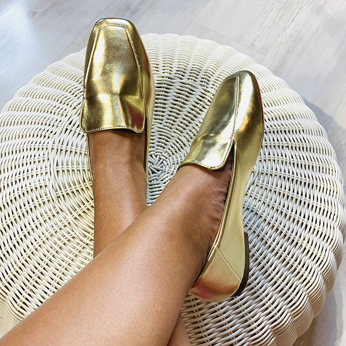 S149 Sapatilha Loafer Ouro Light