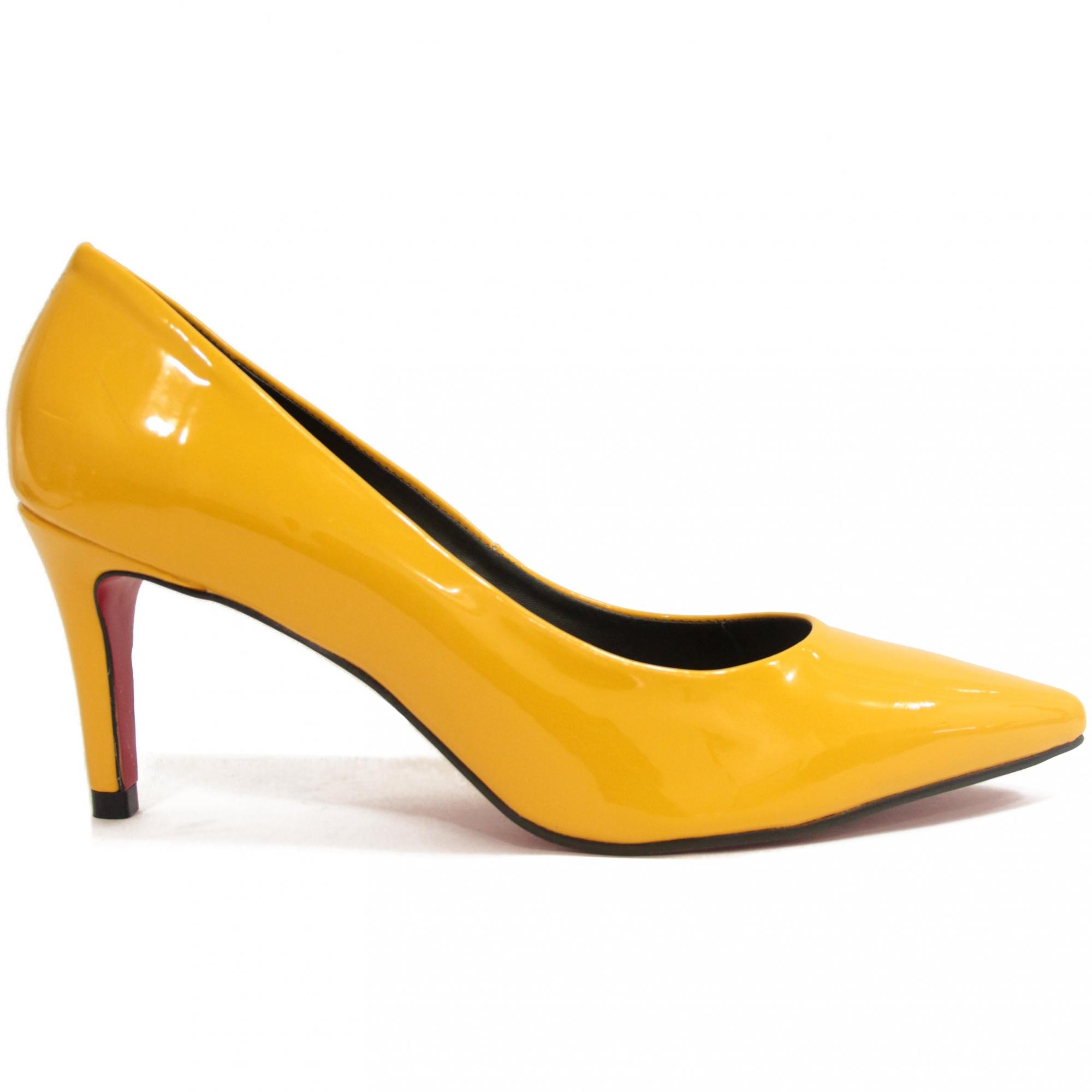 Diamond Scarpin Celine Amarelo Salto Medio Deborah Munhoz