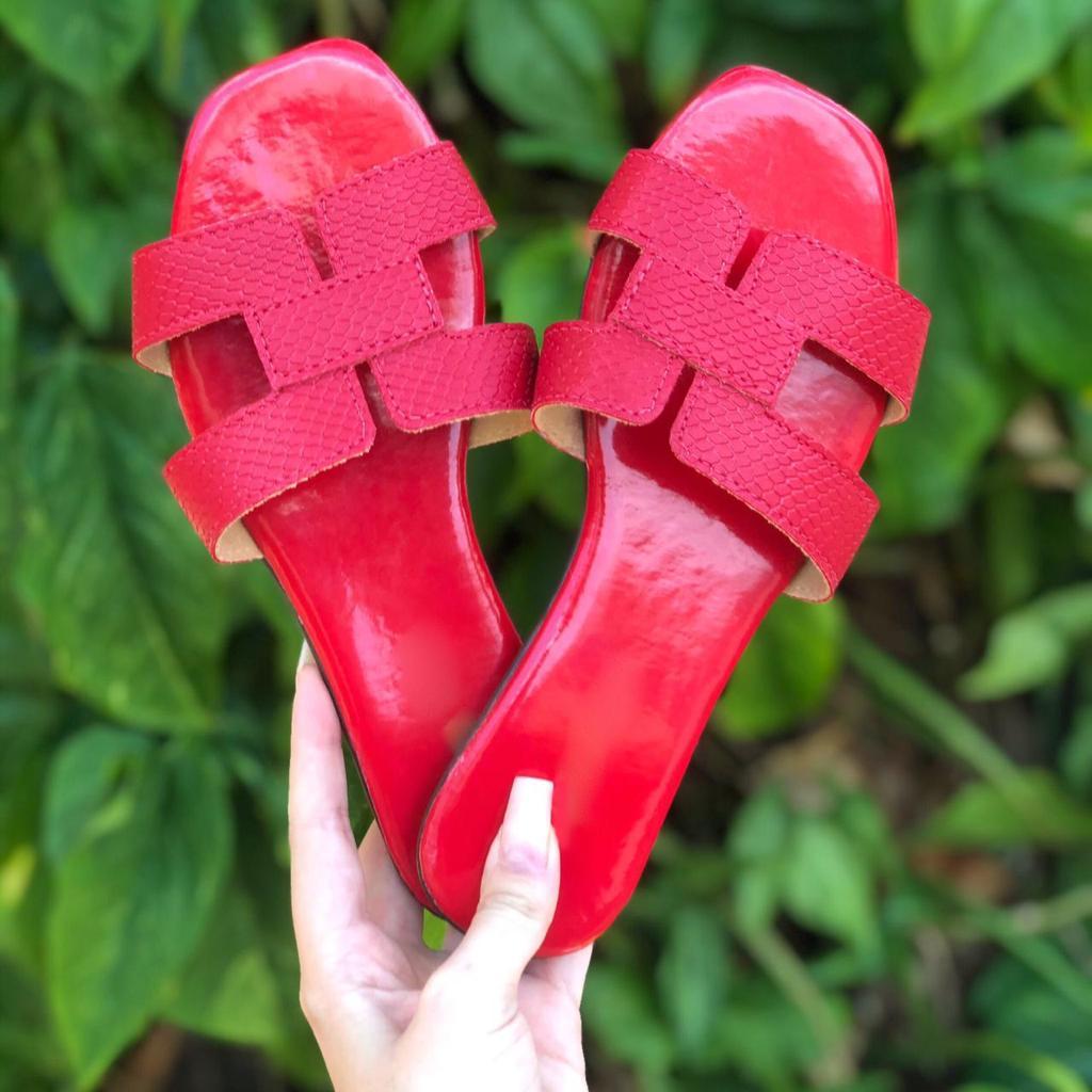 Rasteira H Vermelha Croco by Lolla Valentina