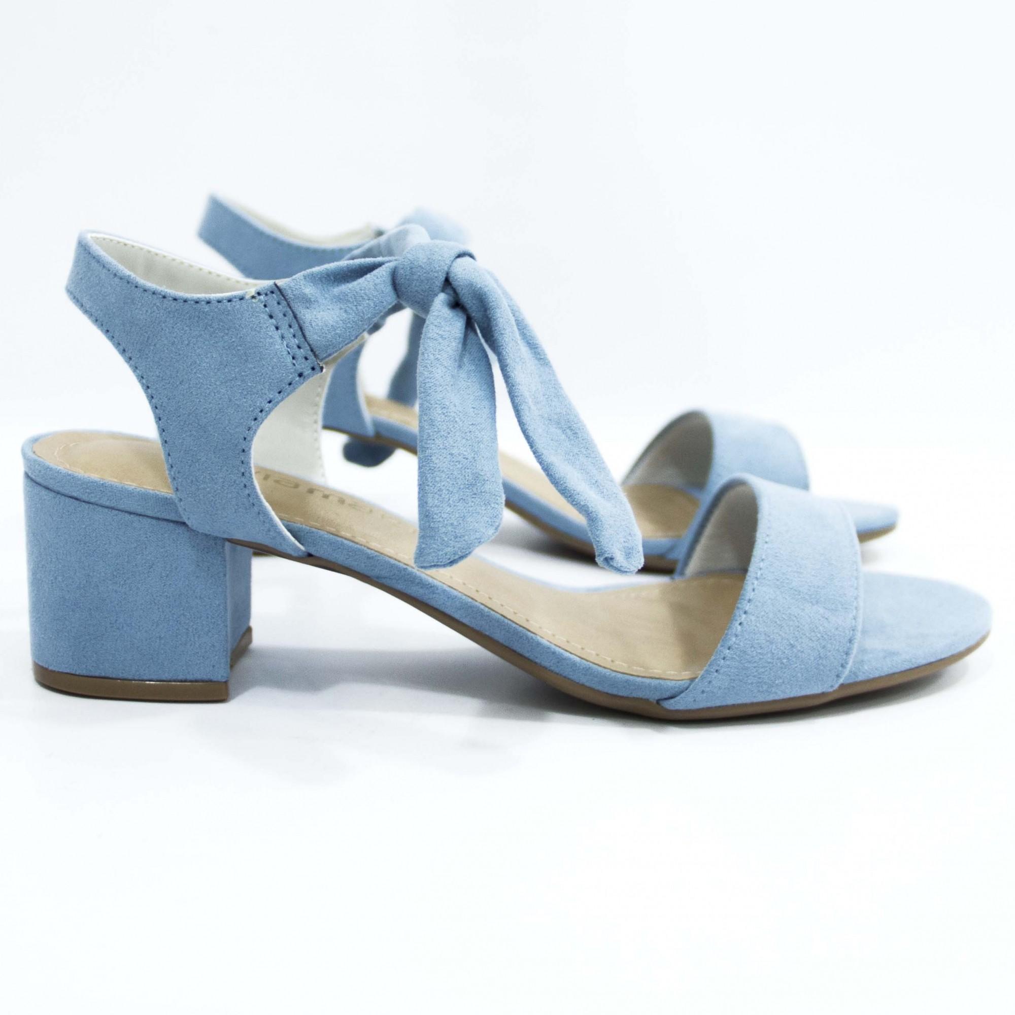 Sandália Azul Claro Nó Salto Bloco Via Marte