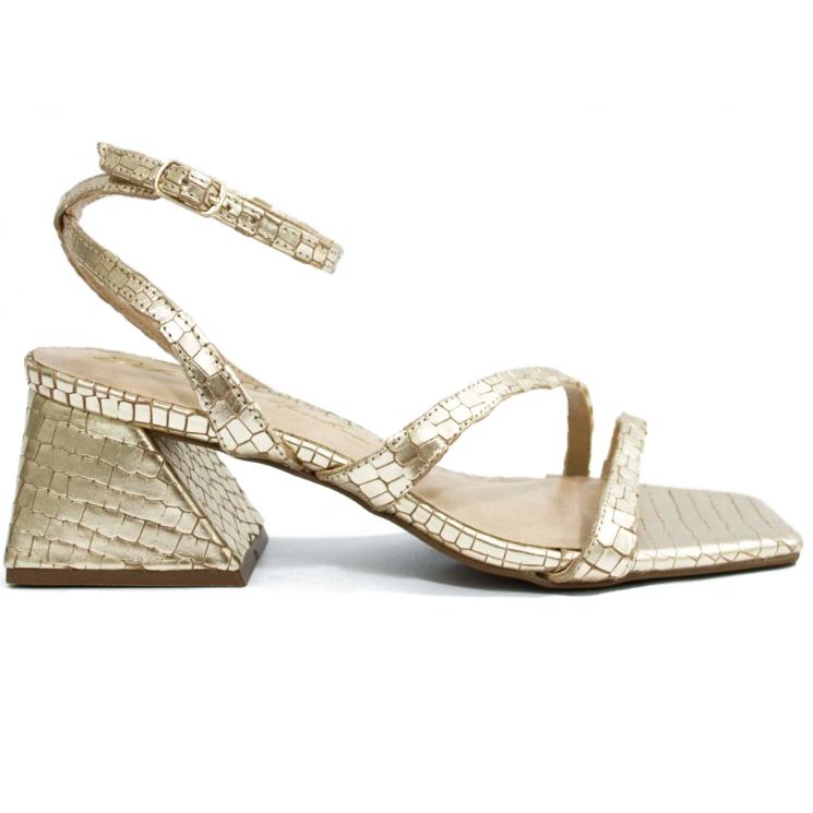 Sandália Dourada Croco by Deborah Munhoz