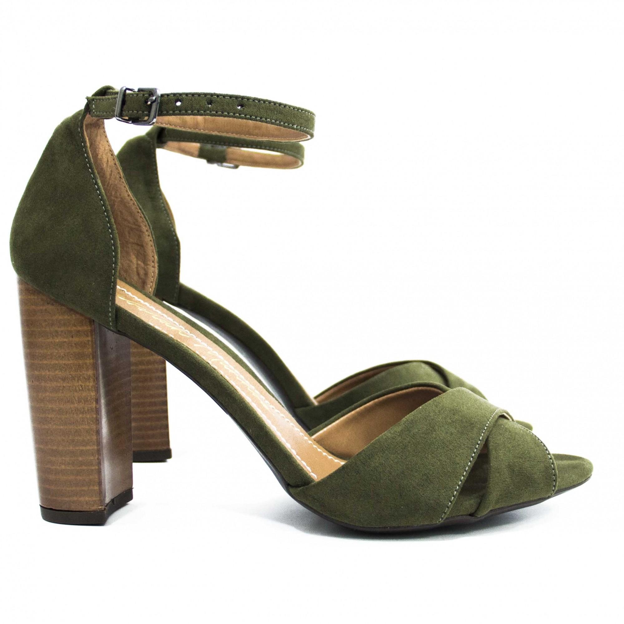 Sandália Lucy Salto Bloco Verde by Deborah Munhoz