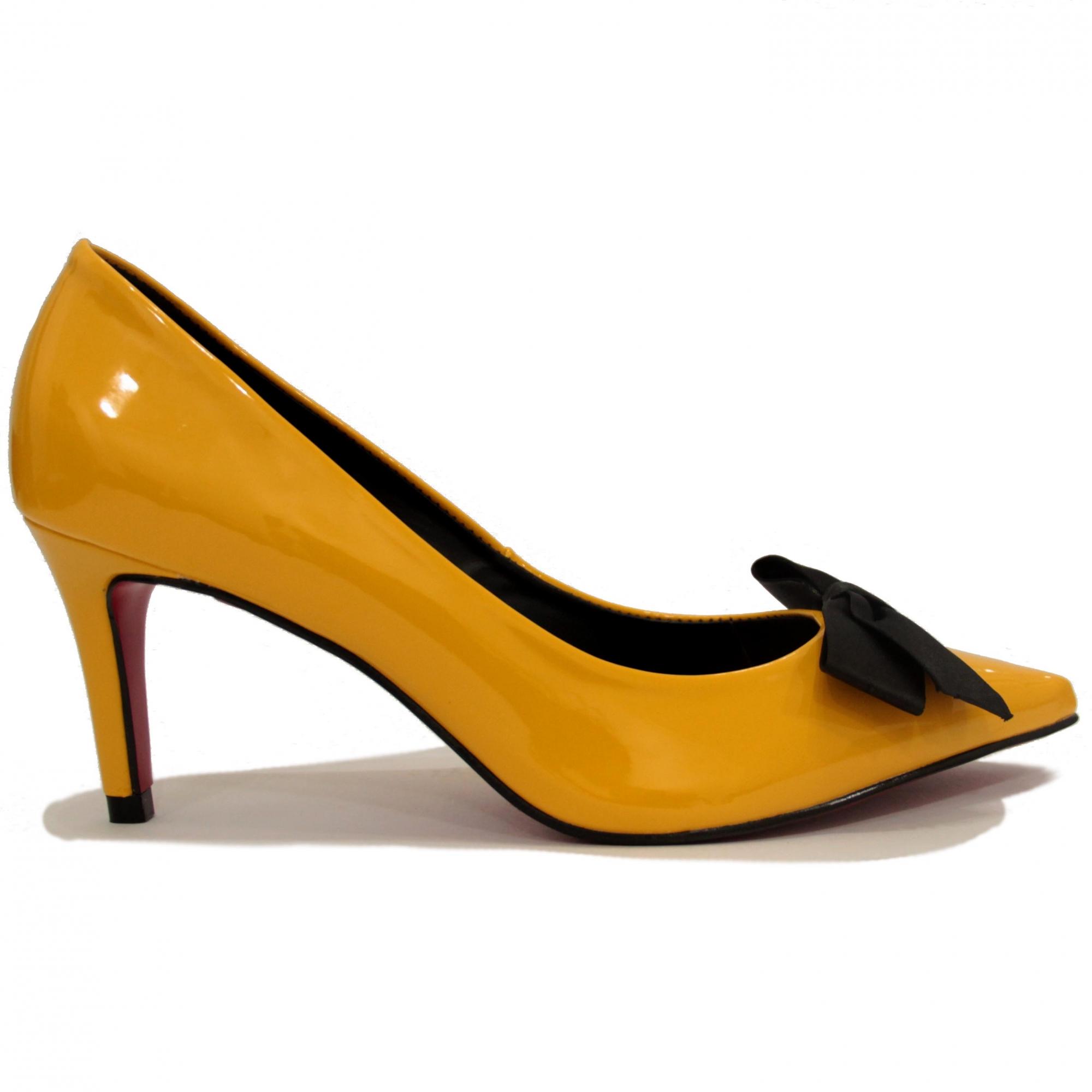 Pré Venda - Scarpin Charlotte Amarelo Salto Baixo Deborah Munhoz