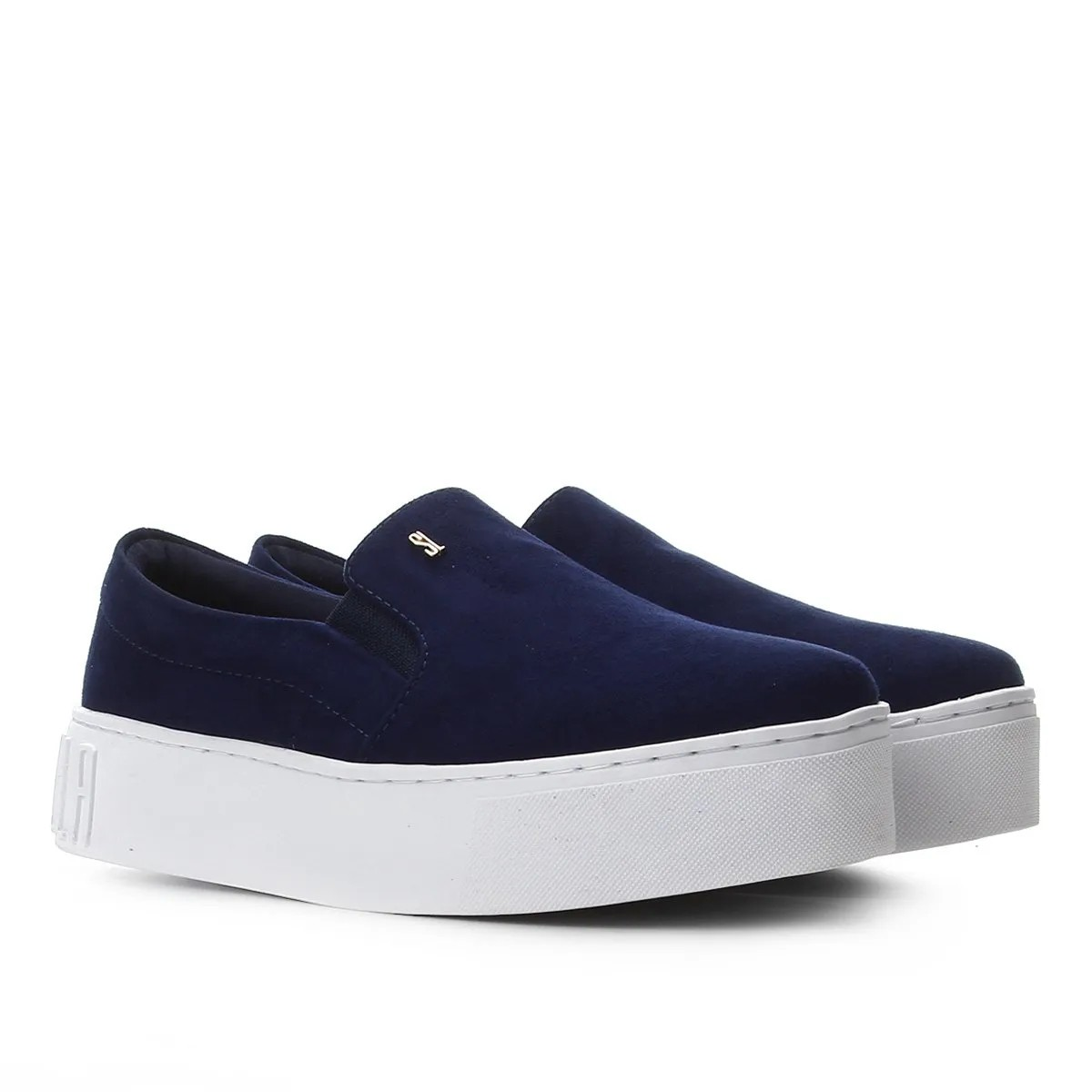 Slip On by Santa Lolla Azul Suede Sola Alta