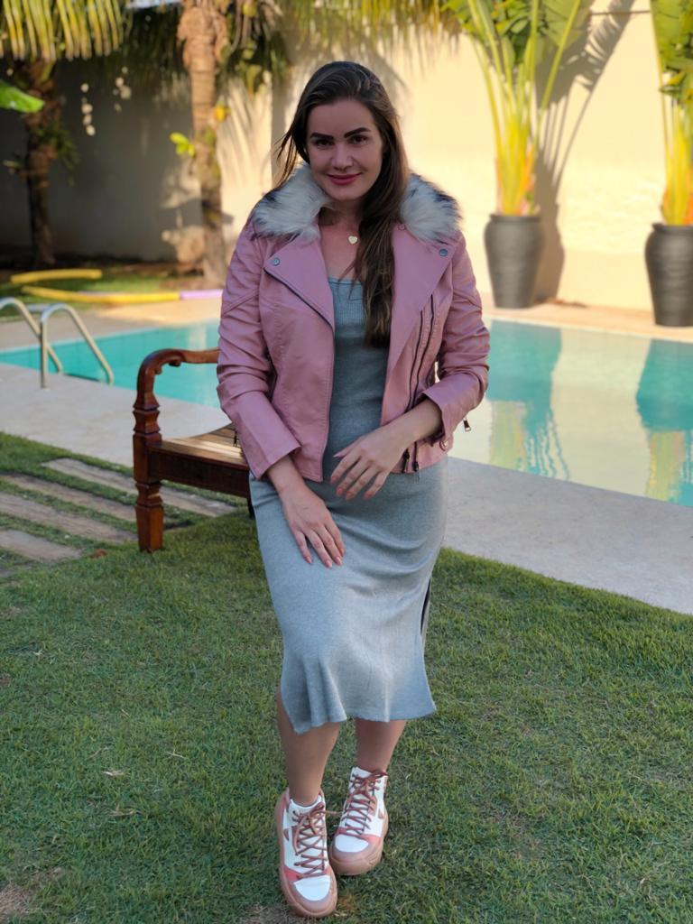 Vestido Isabela Cinza Deborah Munhoz