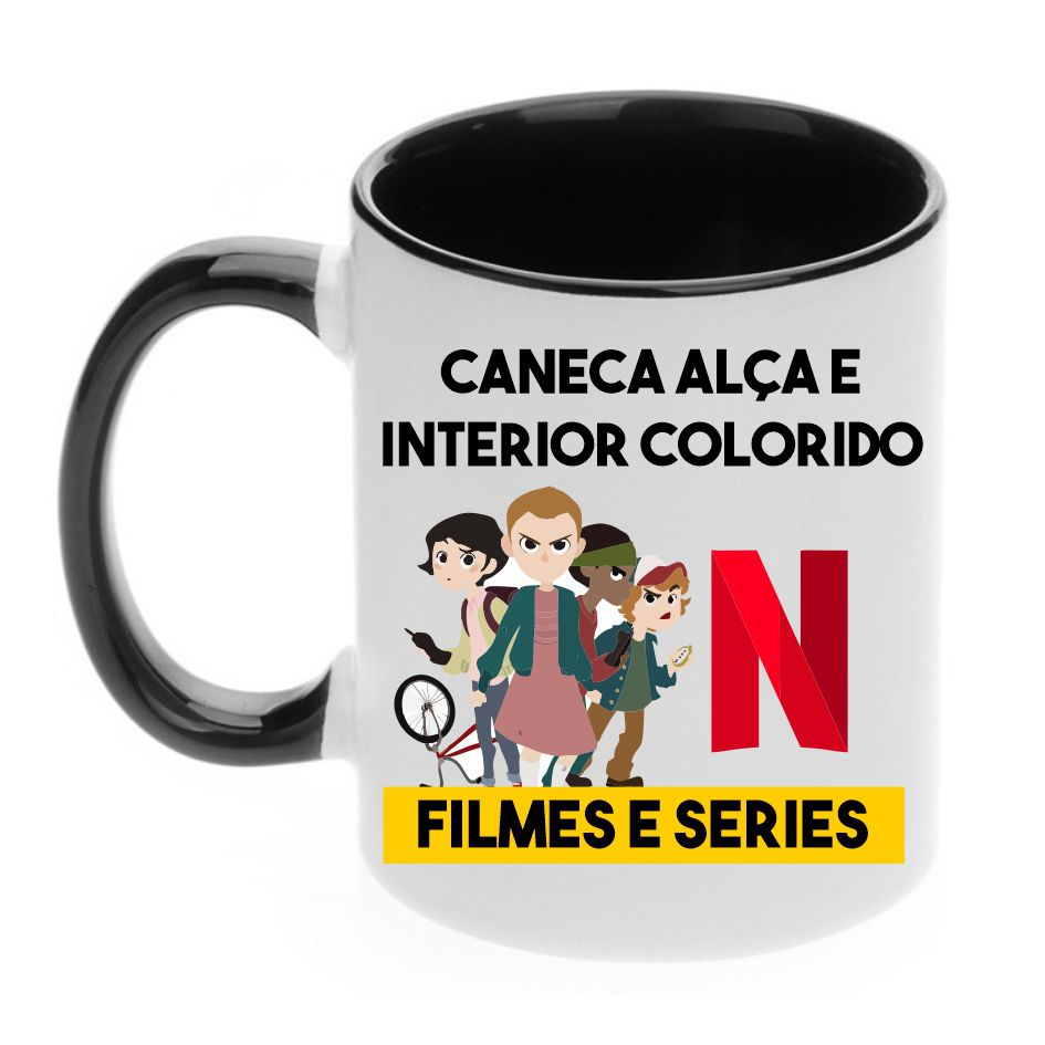 Caneca com Alça e Interior Colorida 325ml Tema Filmes e Séries