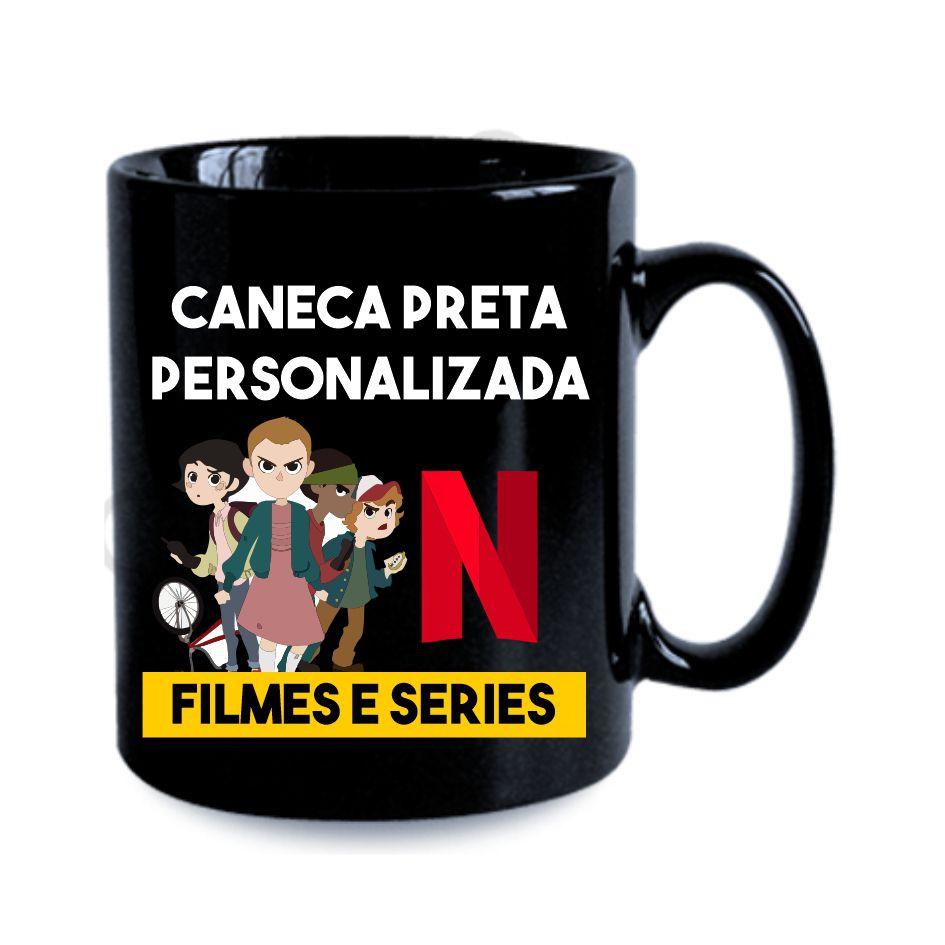 Caneca Preta 325ml Tema Filmes e Séries