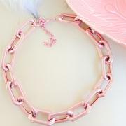 Choker de elos sextavado pink - G6100