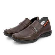 Sapato Masculino BR2 Social Comfort Liso Com Tira 454 Marrom