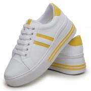 Tênis Feminino Casual DuduDias10 Branco Com Listras Amarelas