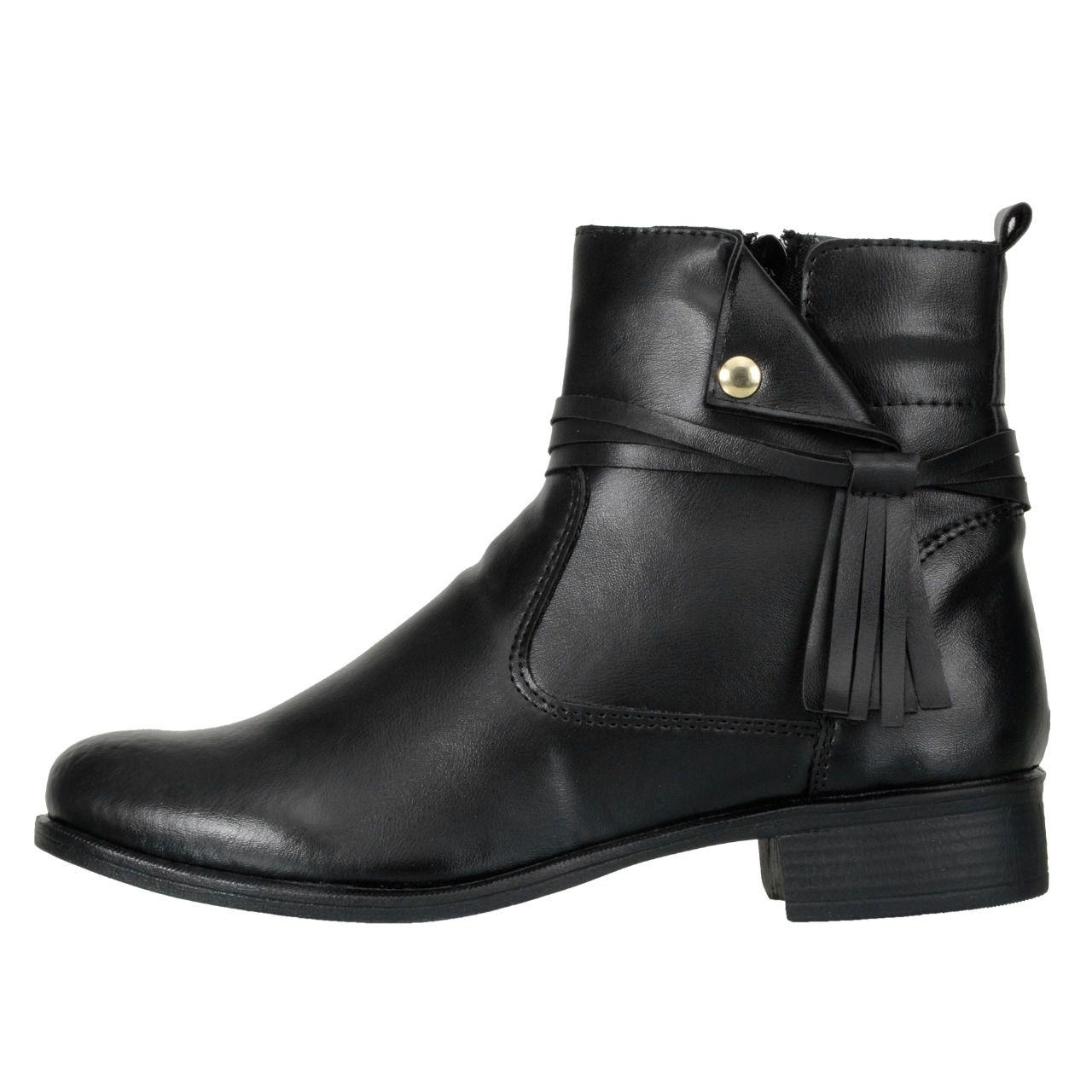 Bota Cano Curto DuduDias Ankle Boot 070 Couro - Marrom e Preto