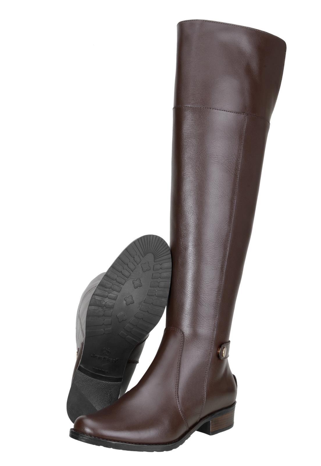 Bota Encinas Leather Montaria Over Knee 15516 Café