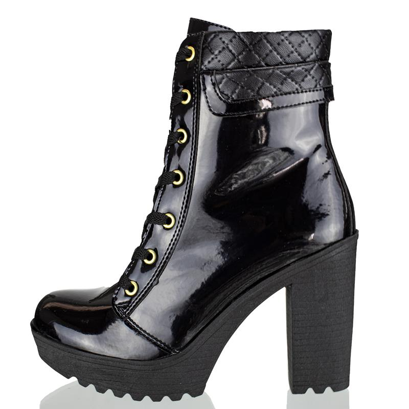 Bota Feminina Cano Curto Encinas Leather Verniz Preto