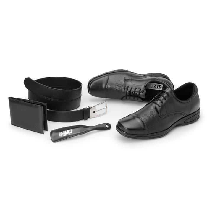 Kit 4in1 Sapato Social SLZ + Carteira + Cinto + Calçadeira - 5051 Preto