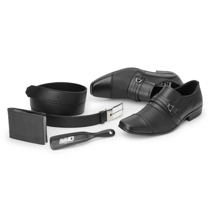 Kit 4in1 Sapato Social SLZ Siroco Preto + Carteira + Cinto + Calçadeira 1021