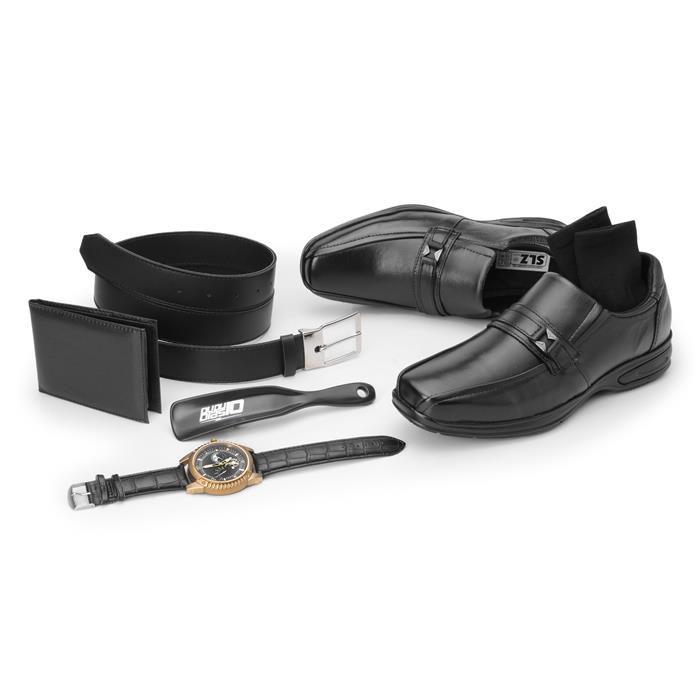 Kit 5in1 Sapato Social SLZ + Carteira + Par de meia + Cinto + Calçadeira - 5040 Preto
