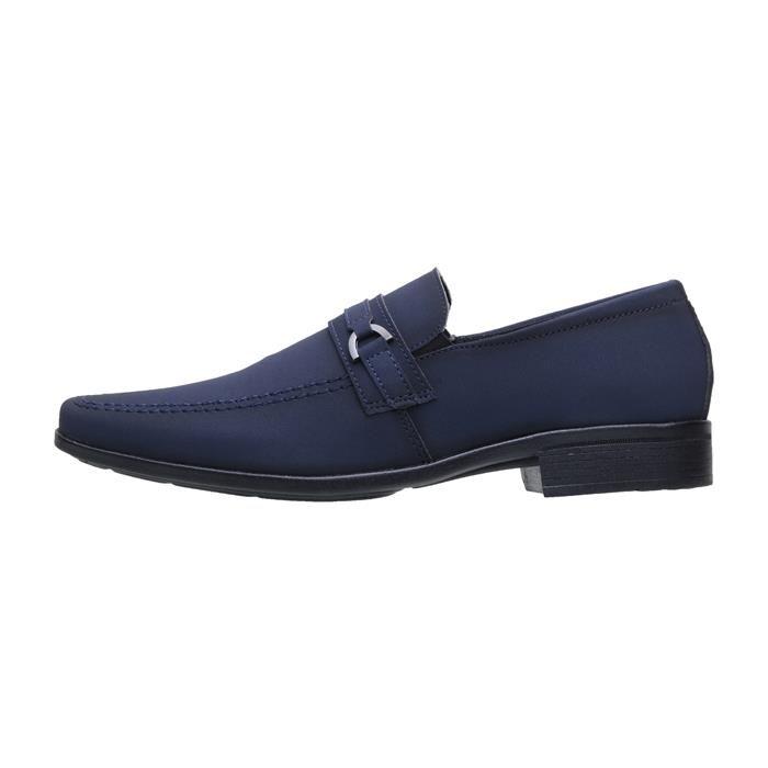 Kit 5in1 Sapato Social SLZ Nobuck Azul Marinho + Carteira  + Cinto + Calçadeira 1103