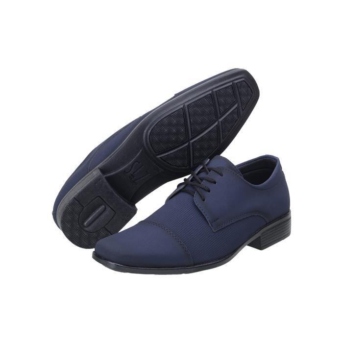 Kit 5in1 Sapato Social SLZ Nobuck Azul Marinho+ Carteira + Par de meia + Cinto + Calçadeira 1011