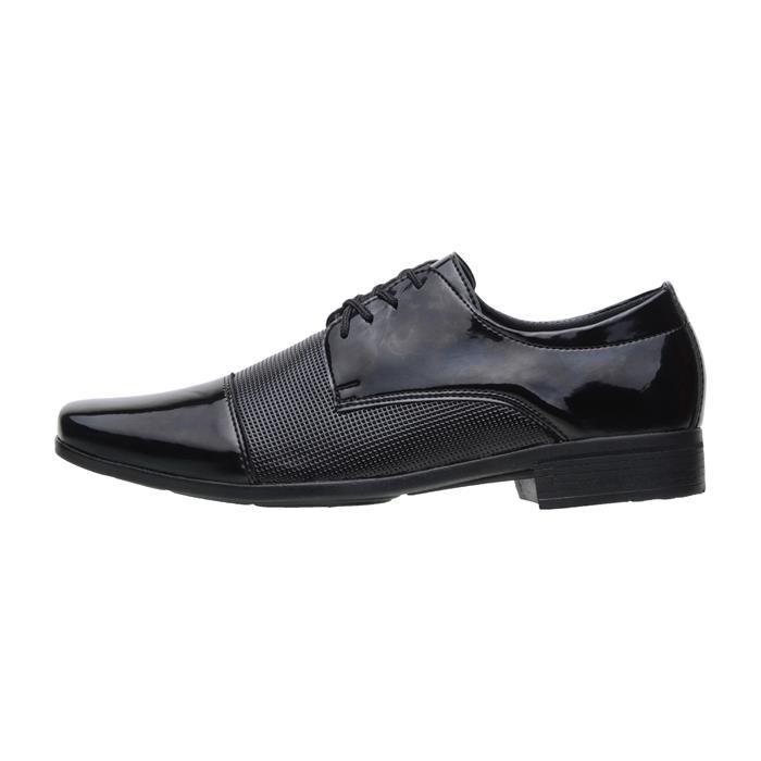 Kit 5in1 Sapato Social SLZ Verniz Preto + Carteira + Par de meia + Cinto + Calçadeira 1011