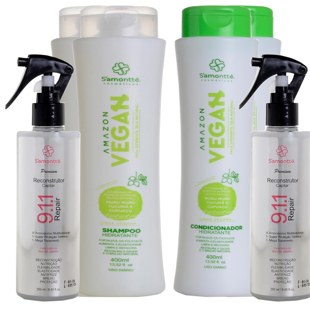 Kit S'amontté 02und Shampoo + Condicionador + Reconstrutor 911 - Selecione a fragrância