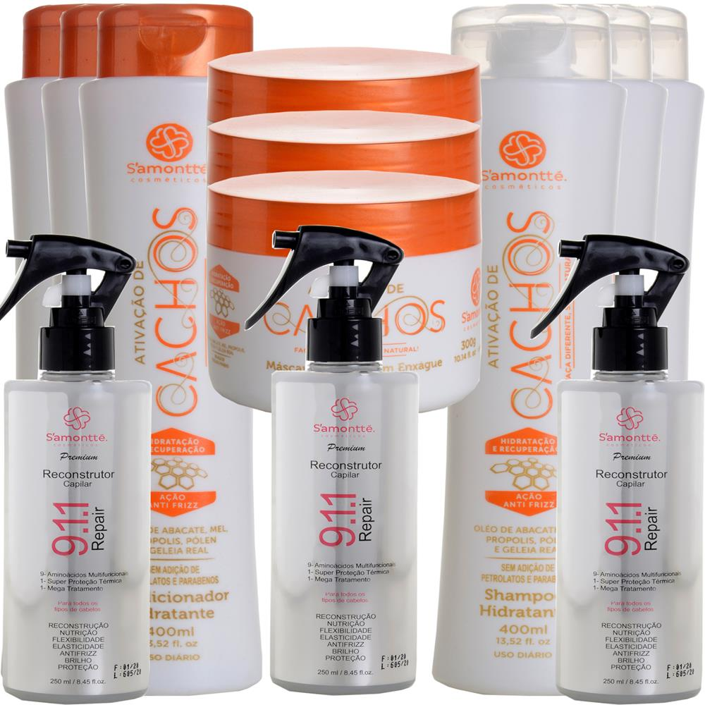 Kit S'amontté 03und Shampoo +Condicionador +Máscara +Reconstrutor  911 - Selecione a fragrância
