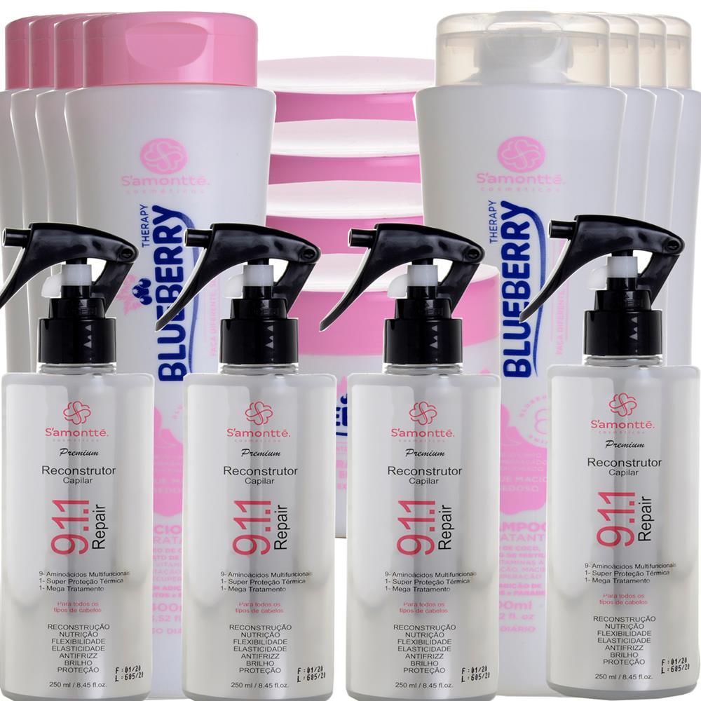 Kit S'amontté 04und Shampoo+Condicionador+Máscara + Reconstrutor 911 - Selecione a fragrância