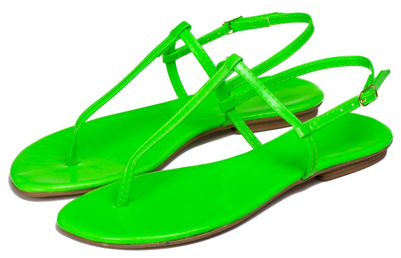 Rasteira Flavia Pacheco Neon Verde 1010