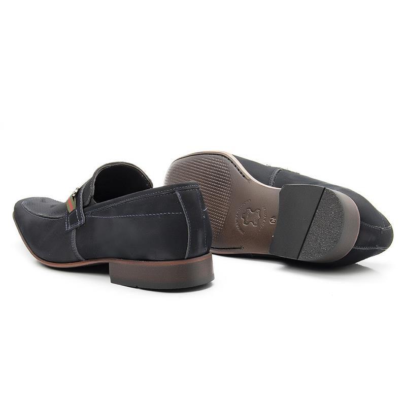 Sapato Social Nobuck 442 Azul Marinho Microfuros