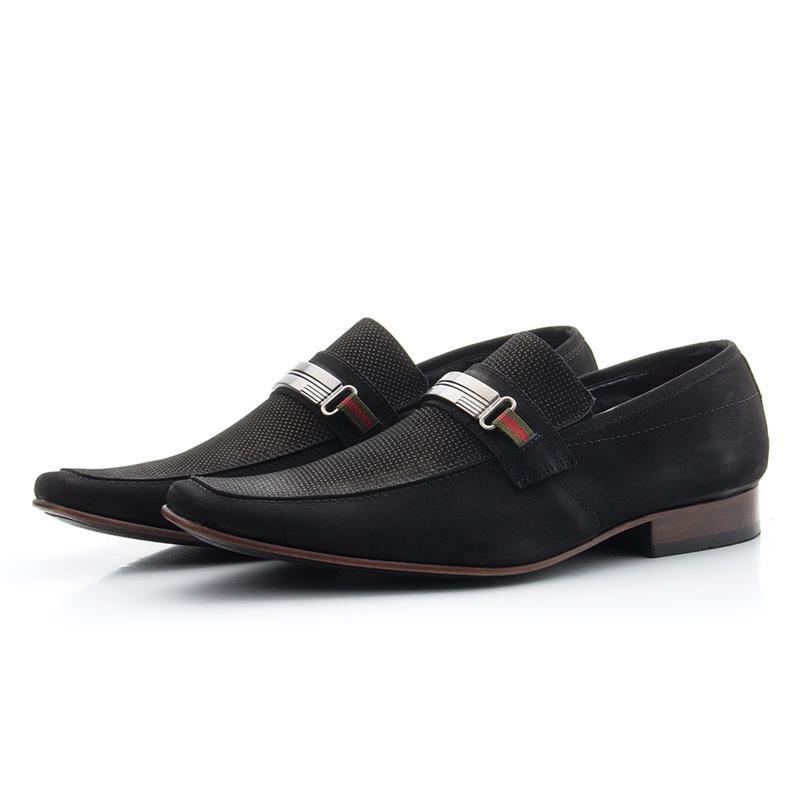 Sapato Social Nobuck 442 Preto Microfuros
