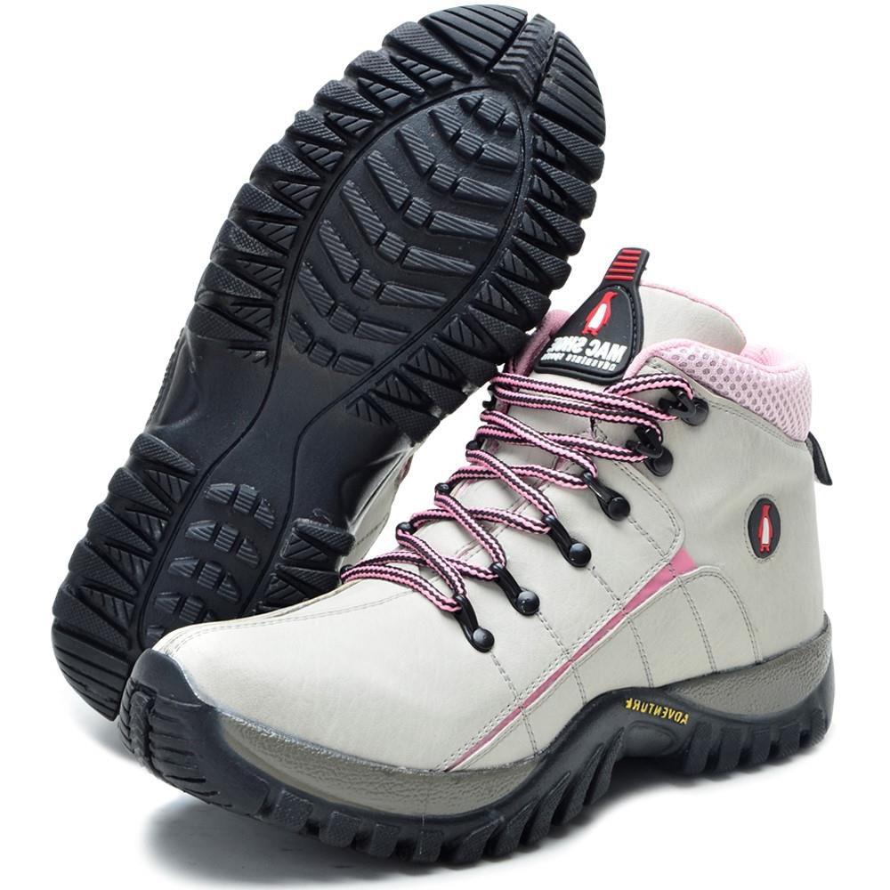 Tênis Adventure MacShoes Coturno Cadarço Bota Creme Rosa 218