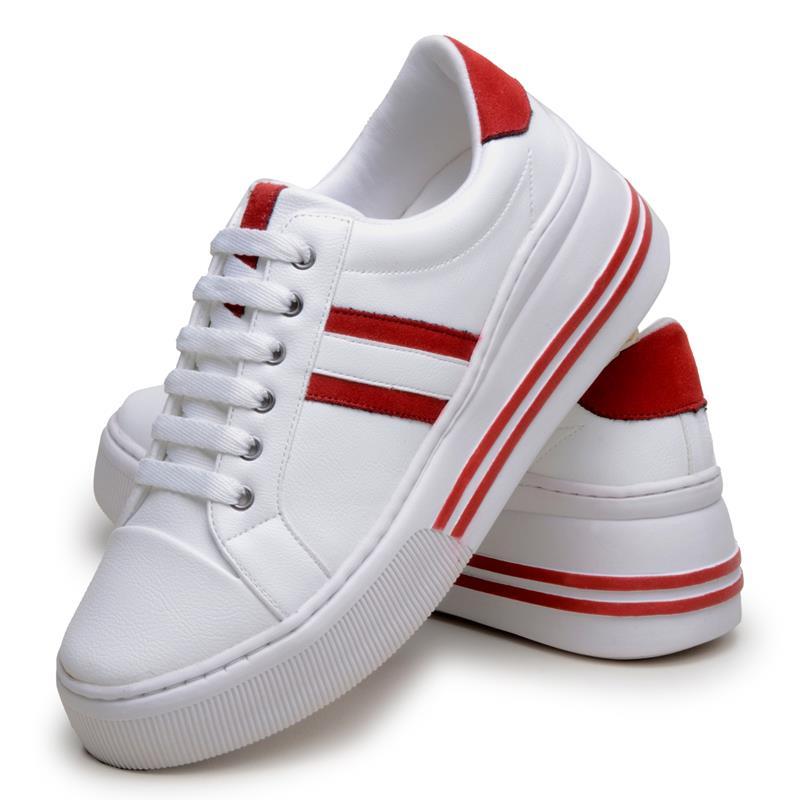 Tênis Feminino Casual DuduDias10 Branco Com Listras Vermelhas