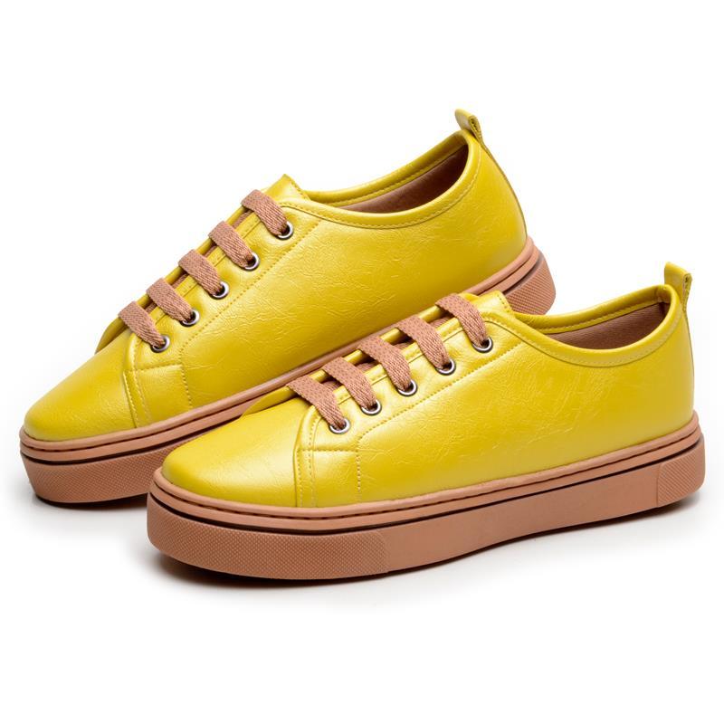 Tênis Feminino Casual DuduDias10 Com Cadarços 058 Amarelo