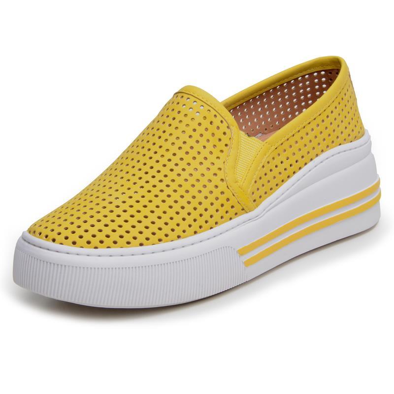 Tênis Feminino Casual DuduDias10 Slip On Furadinho Amarelo