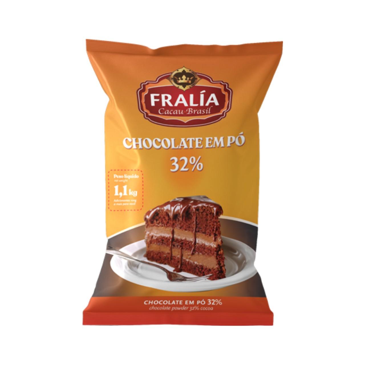 Chocolate Em Pó Solúvel 32% Cacau Fralía Adicel - 1,1 Kg