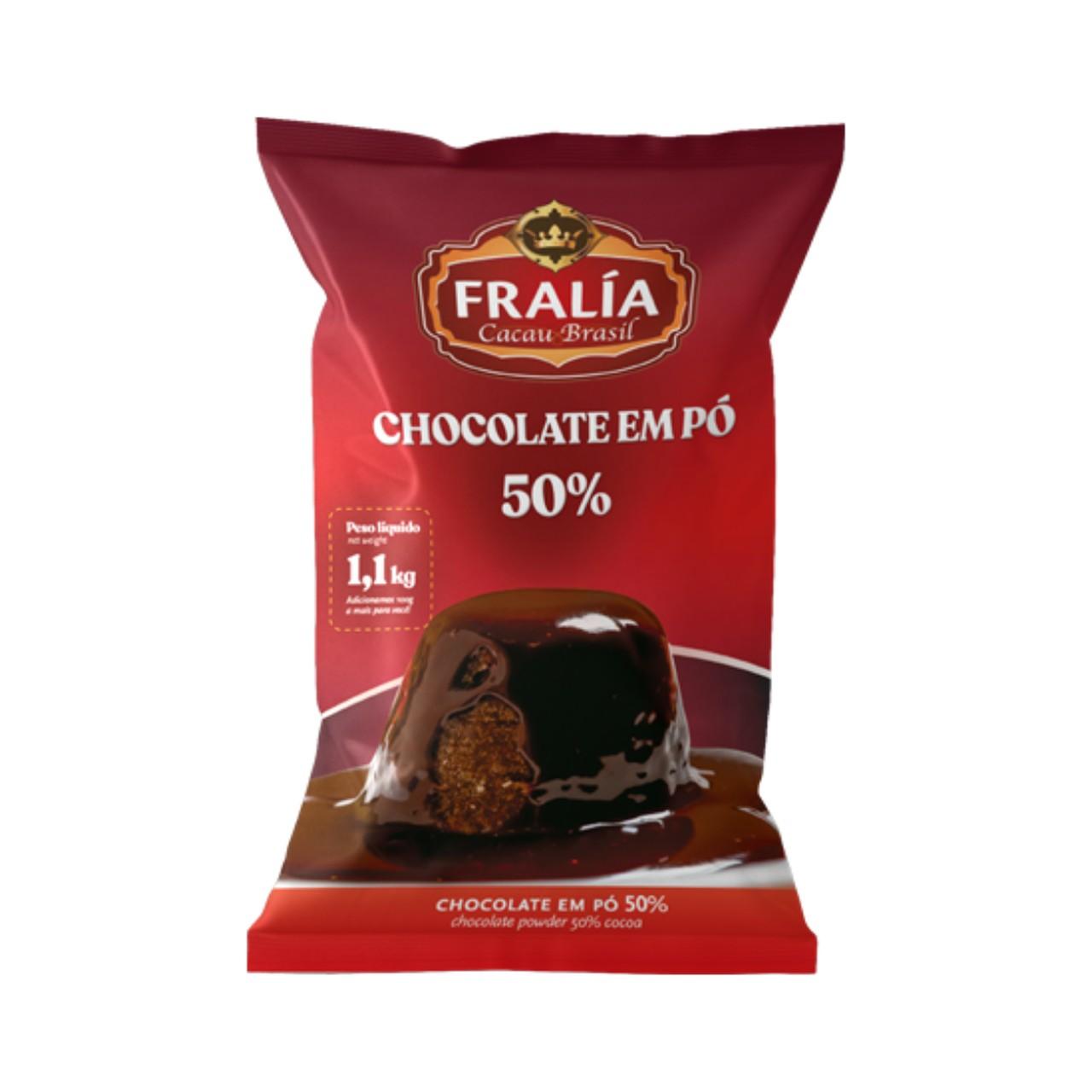 Chocolate Em Pó Solúvel 50% Cacau Fralía Adicel - 1,1 Kg