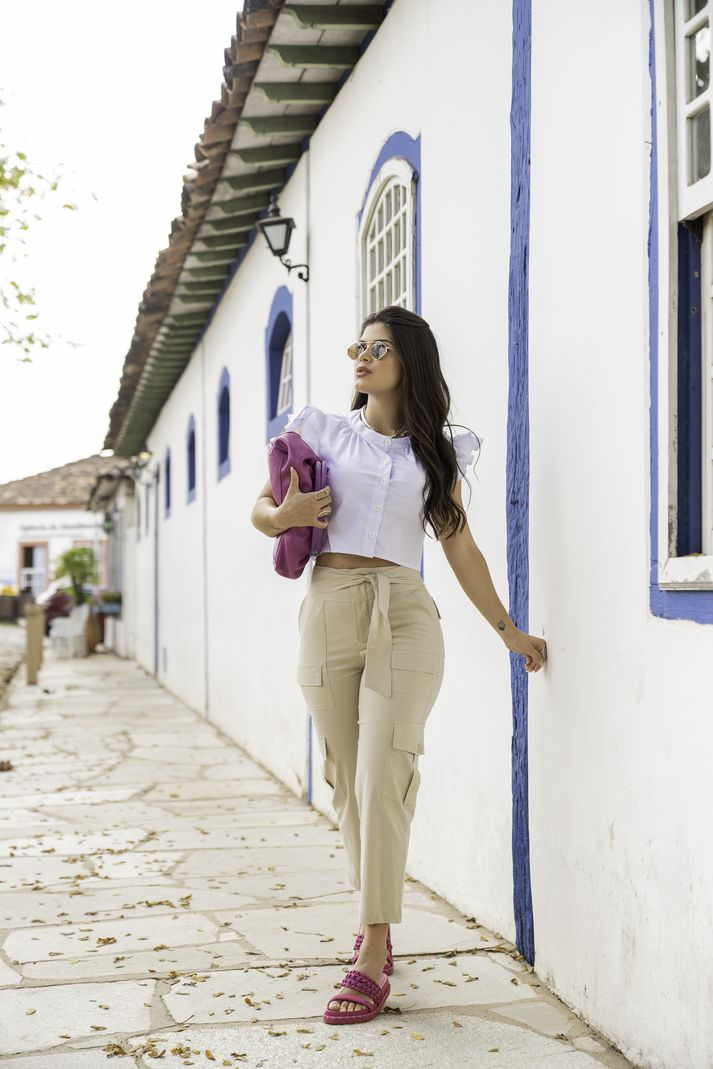 [PRÉ-VENDA] Calça Feminina Cargo Amarração Frente - Contra Sensura