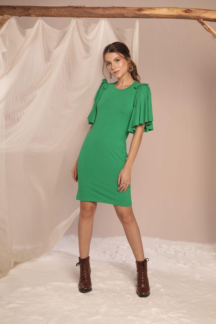 Vestido Mangas Amplas - Contra Sensura (Verde)