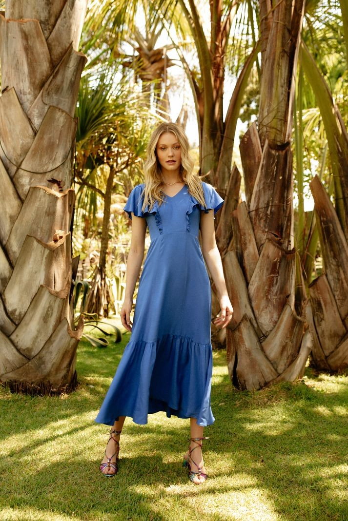Vestido Contra Sensura Decote Babados Azul
