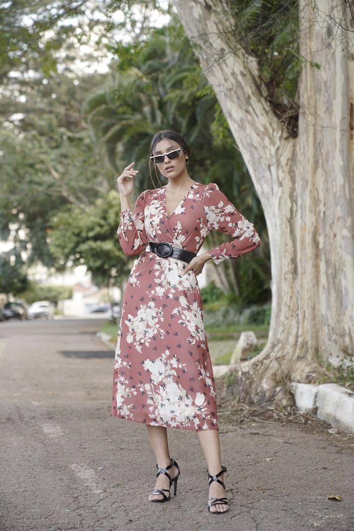 Vestido Contra Sensura Midi Floral Transpassado