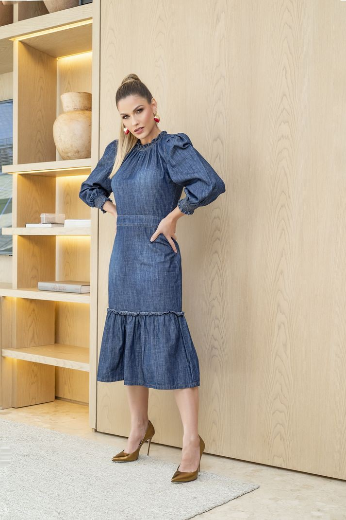 Vestido Contra Sensura Midi Jeans Com Lastex