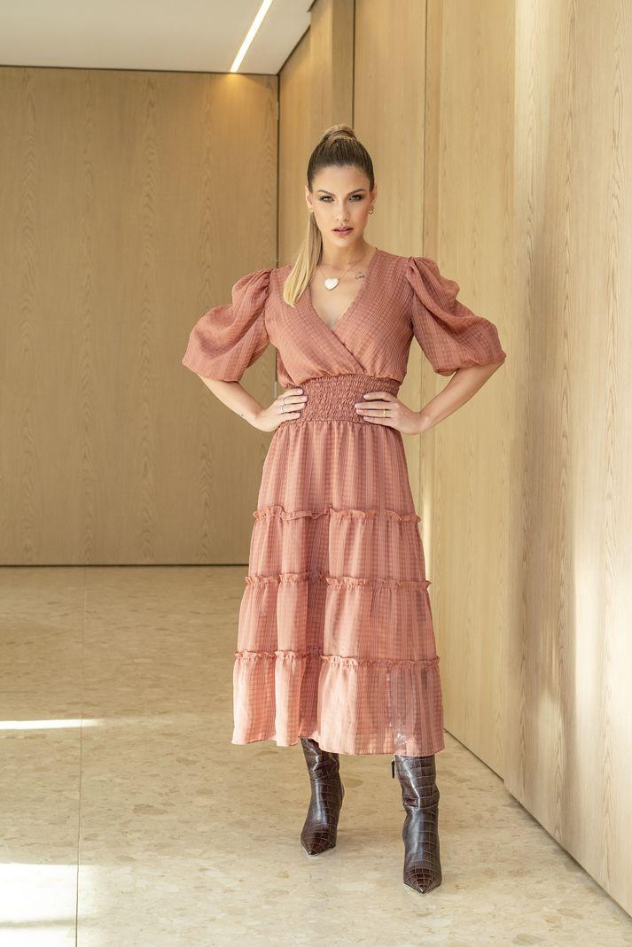 Vestido Contra Sensura Midi Lastex Rosê