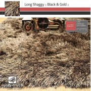 Tapete Long Shaggy Black & Gold, Preto/Ouro, Fios de Seda 60mm 2,50 x 3,00m