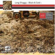 Tapete Long Shaggy Black & Gold, Preto/Ouro, Fios de Seda 70mm